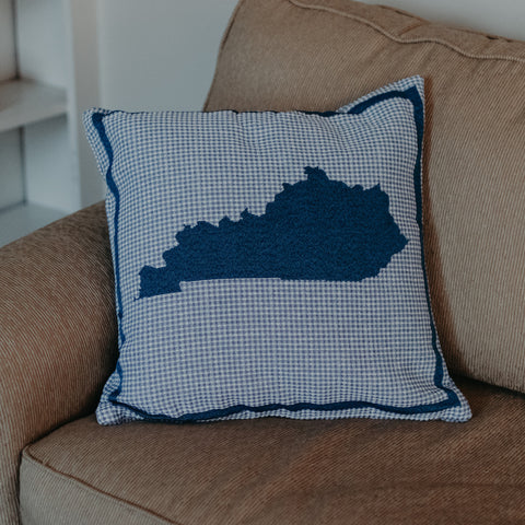Blue Plaid KY Shape Pillow - Barrel Down South