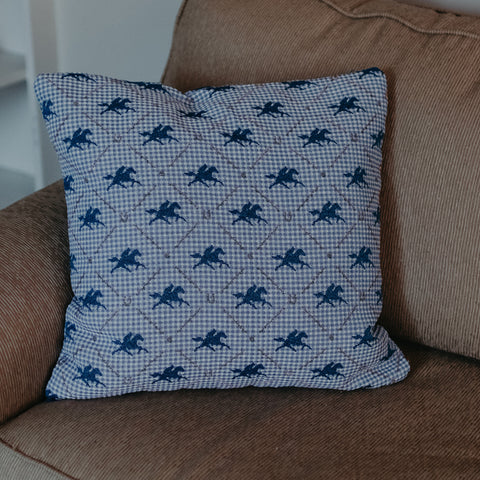 Blue Plaid Furlong Pillow - Barrel Down South