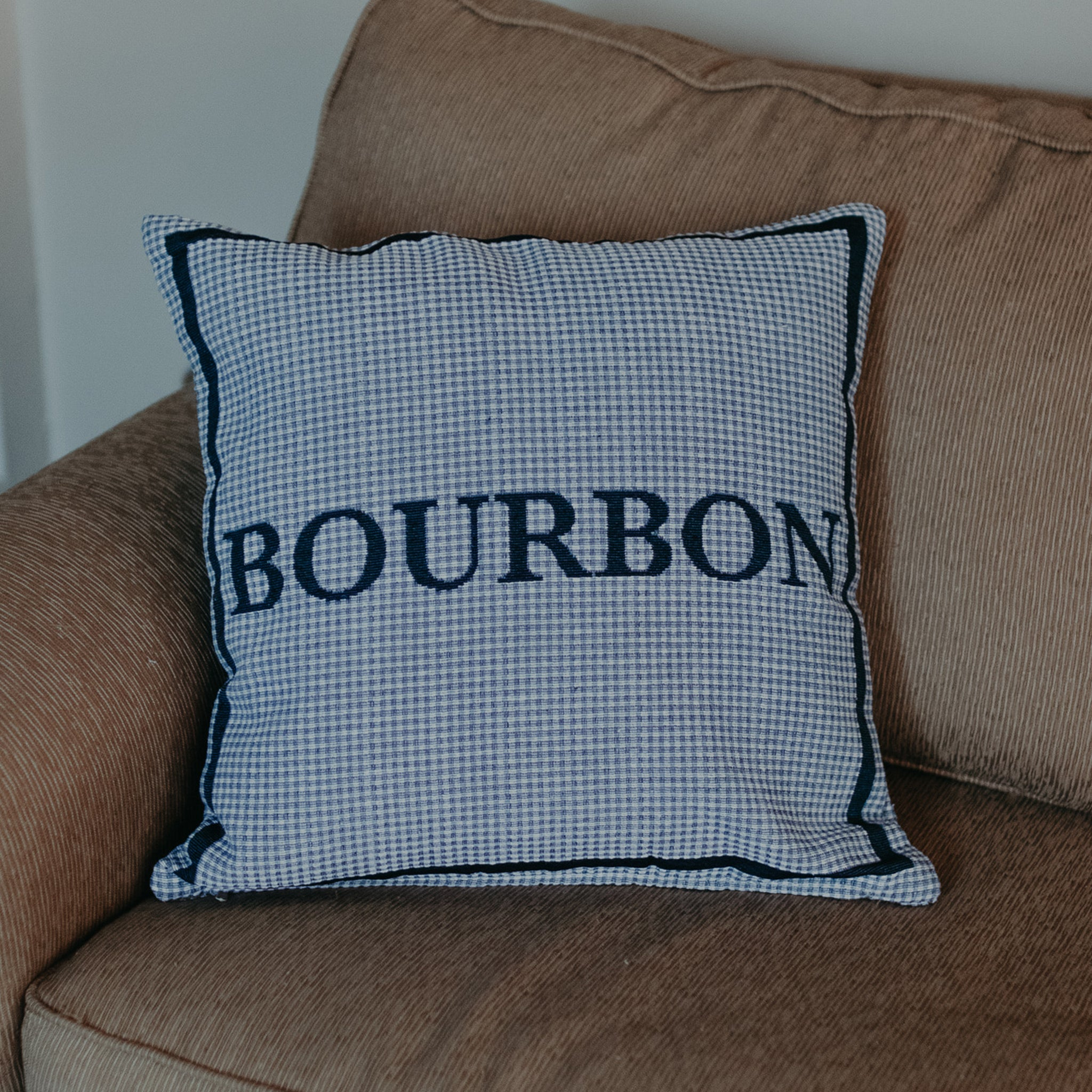 Blue Plaid Bourbon Pillow - Barrel Down South