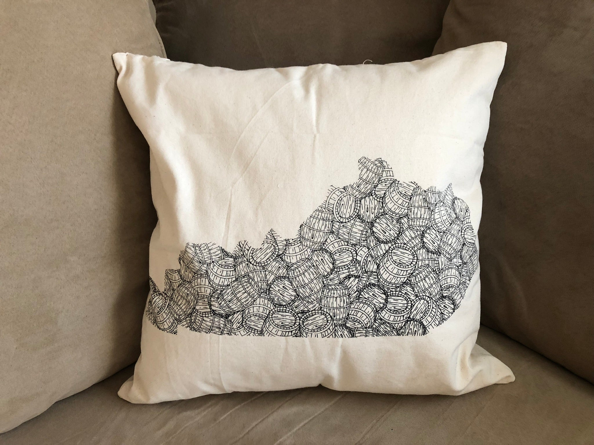 KY Bourbon Barrel Canvas Pillow - Barrel Down South