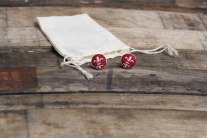 Red Fleur-De-Lis Cufflinks - Barrel Down South