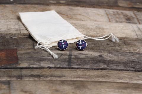 Navy Fleur-De-Lis Cufflinks - Barrel Down South