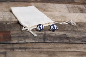 Navy KY Letter Cufflinks - Barrel Down South