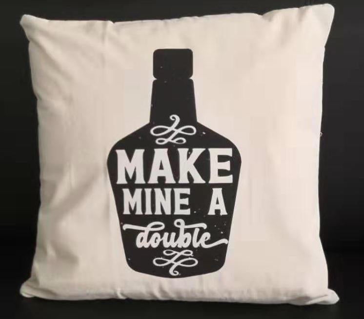 Make Mine a Double Canvas Pillow - Barrel Down South