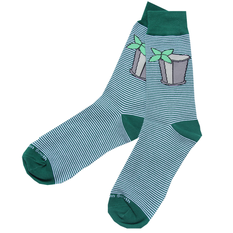 Green Stripe Julep Socks - Barrel Down South