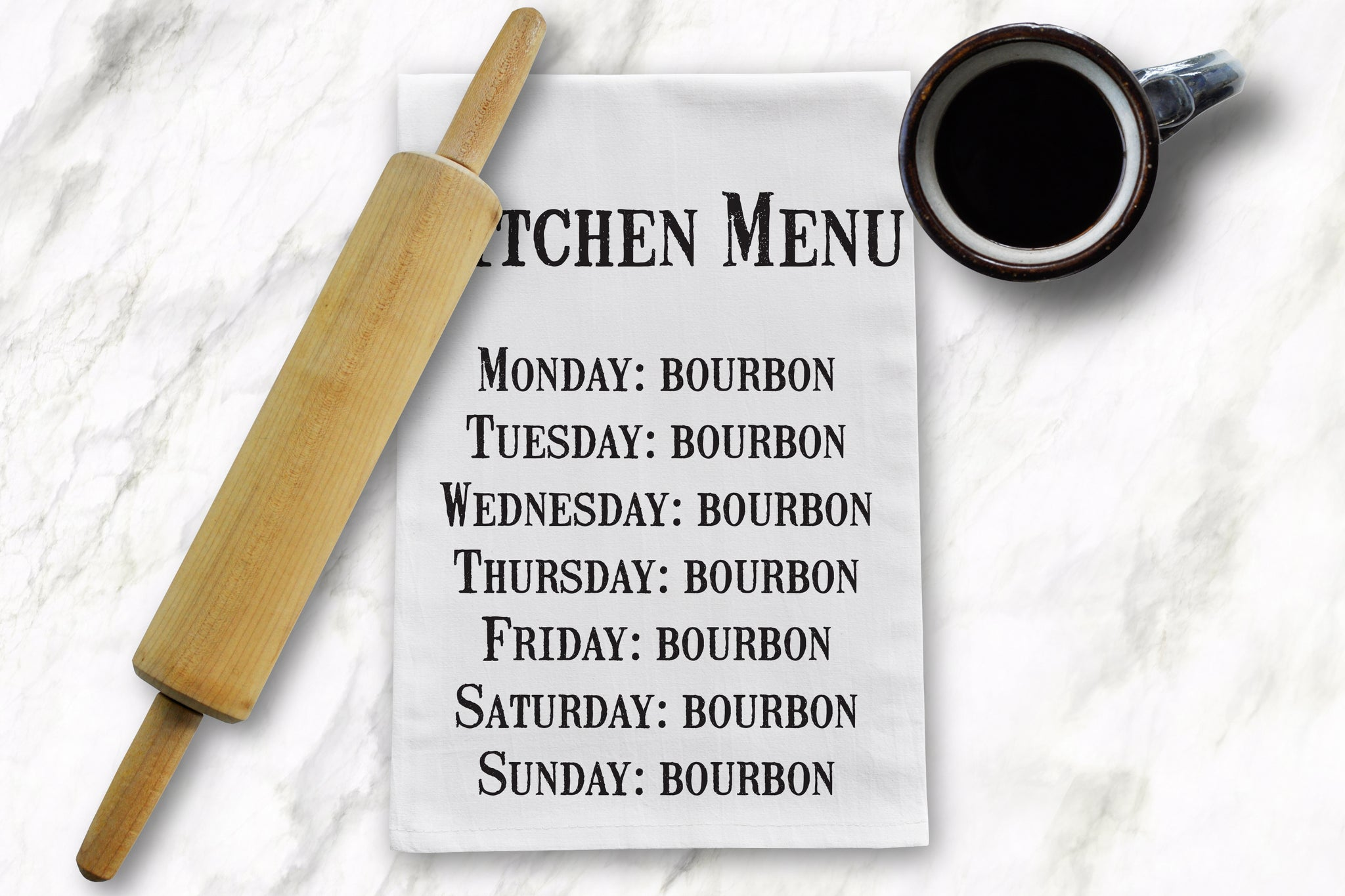 Kitchen Menu Tea Towel - Barrel Down South