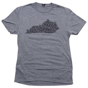 Grey Kentucky Shape Bourbon T-Shirt - Barrel Down South