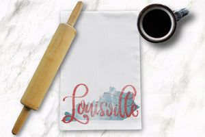 Louisville KY Faded Tea Towel - Barrel Down South