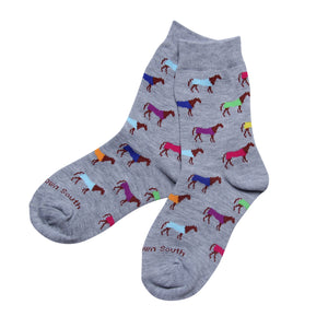 Kids Multi Color Horse Socks - Barrel Down South