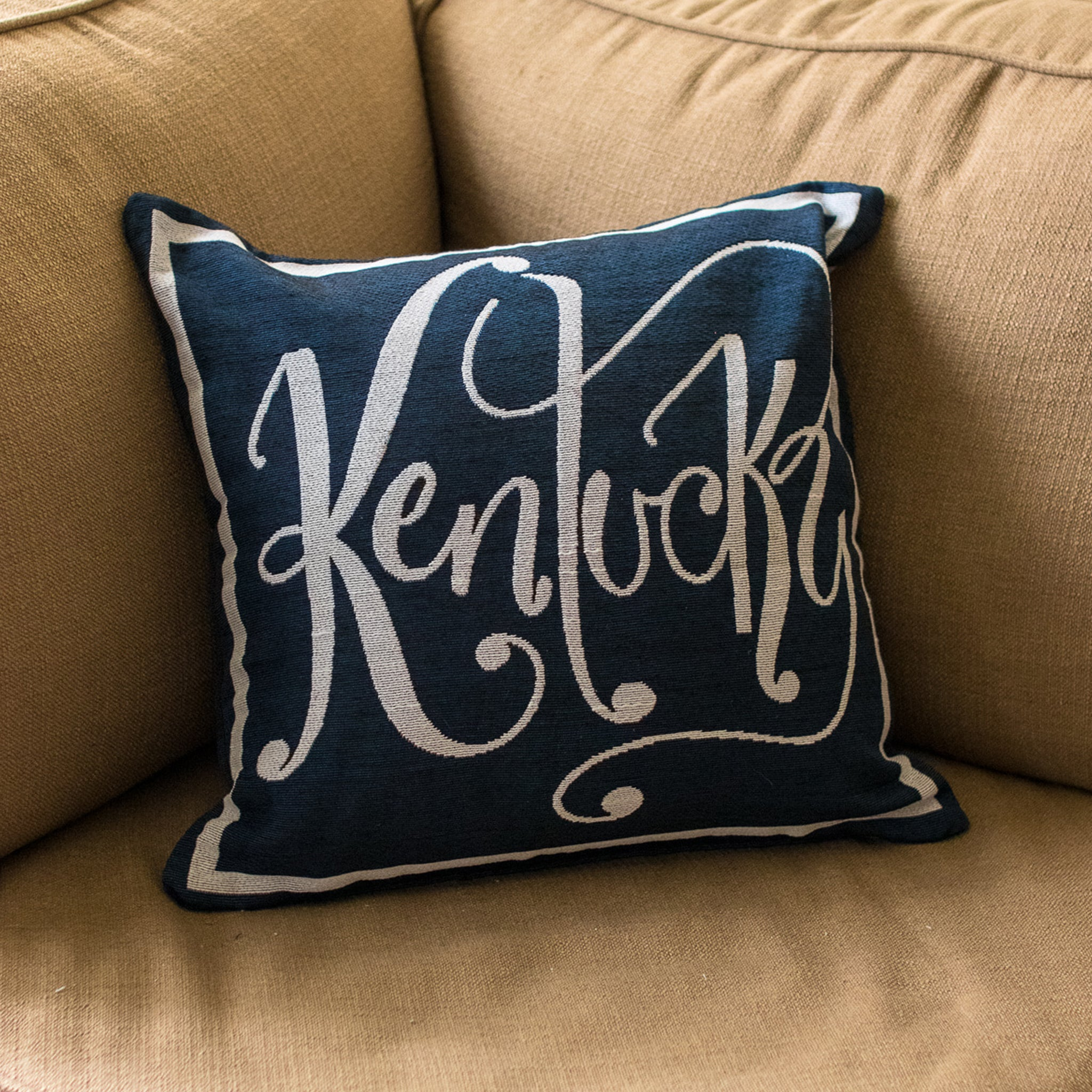 Navy Kentucky Word Pillow - Barrel Down South