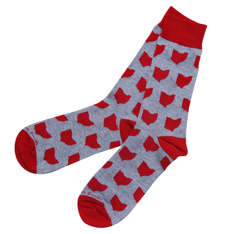 Grey/Red Ohio Socks - Barrel Down South