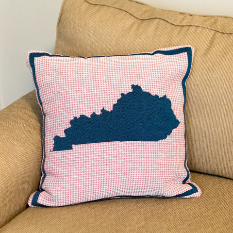 Pink Plaid KY Shape Pillow - Barrel Down South