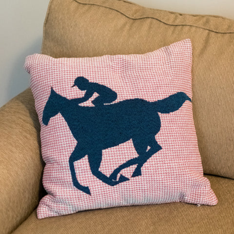 Pink Plaid Race Horse Pillow - Barrel Down South