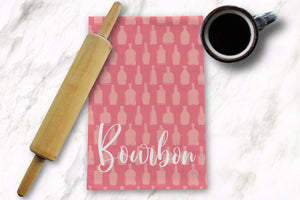 Pink Bottle Pattern Tea Towel - Barrel Down South