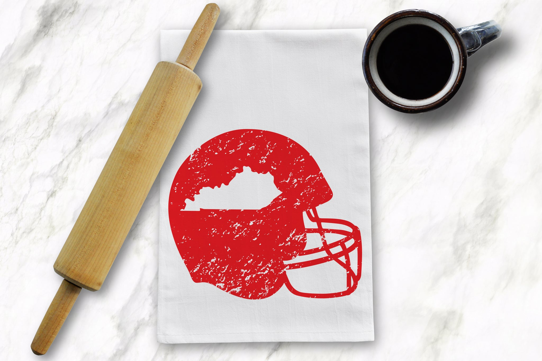 Red KY Helmet Tea Towel - Barrel Down South