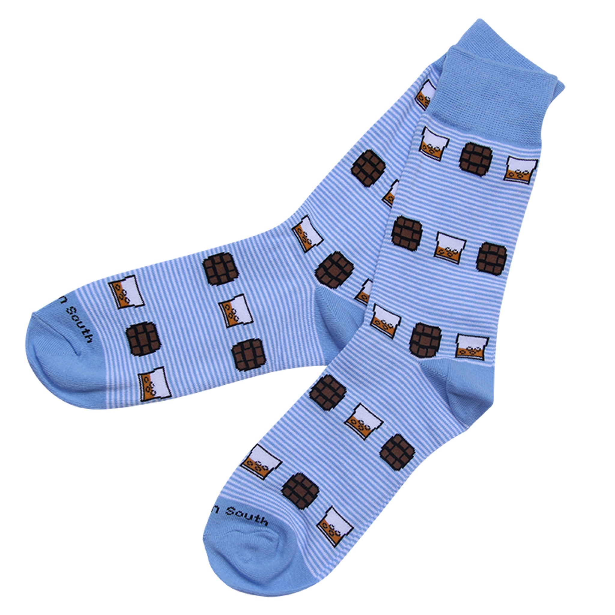 On The Rocks Light Blue Stripe Socks - Barrel Down South