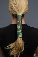 Hair Glove Extreme Sports Ponytail Cover- Green Camoflage