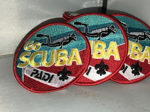 PADI 'Go Scuba' Patch - Red, Teal, Gold and Black