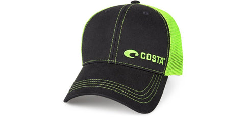 Costa Del Mar Neon Trucker Black/Green New 2017 Hat