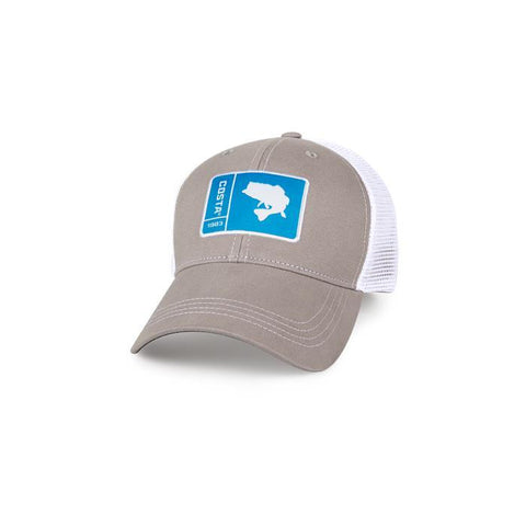 Costa Del Mar Original Patch Bass Trucker Hat Grey/White