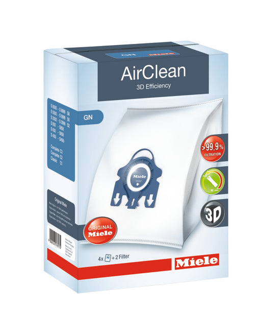 Miele AirClean 3D Efficiency Dust Bag, Type GN, 4 Bags & 2 Filters