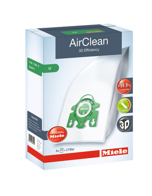 Miele AirClean 3D Efficiency Dust Bag, Type U, 4 Bags & 2 Filters