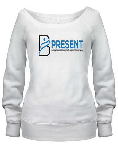 B Present Ladies L/S Scoop Neck T-Shirt Front & Back Logo