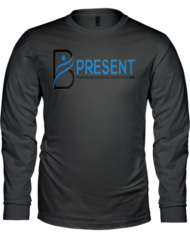 B Present Men's L/S T-Shirt Logo Front & Back