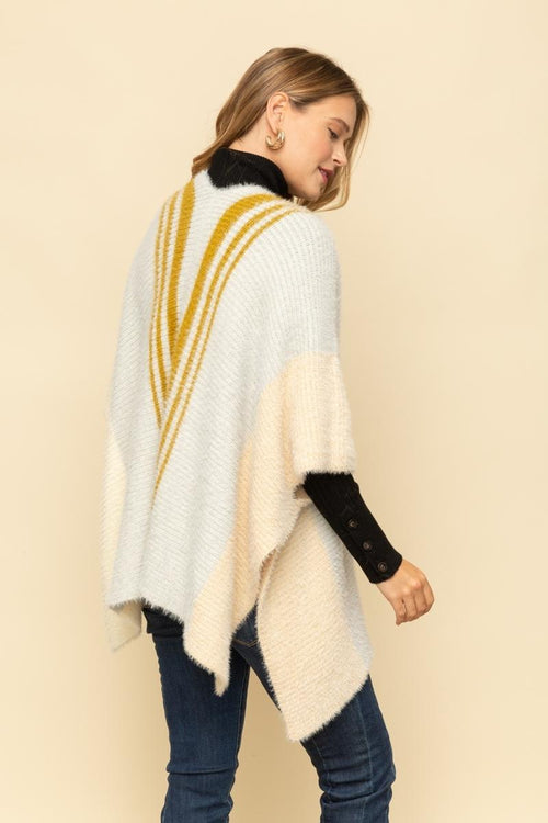 STRIPE DETAIL SWEATER PONCHO