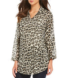 3 Piece Layered Leopard Print Cotton Top With Scarf