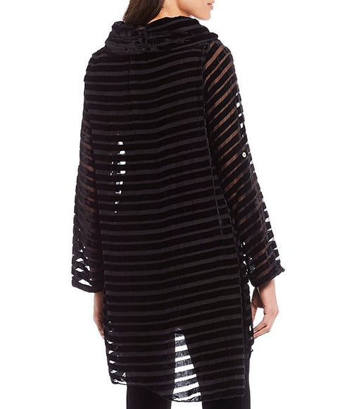 Woven Holiday Mixed Sequin Striped Tunic