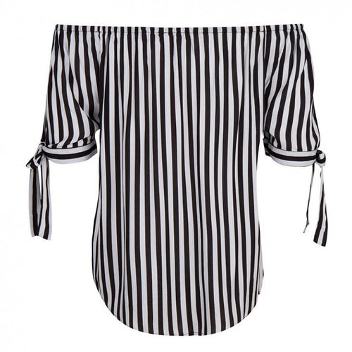 Black and White Stripe Peasant Blouse