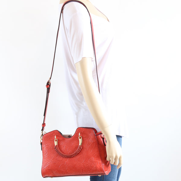 Floral Embossed Faux Leather Crossbody Bag