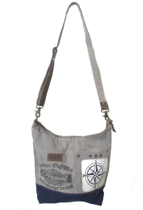 Compass Two Tone Hobo Handbag