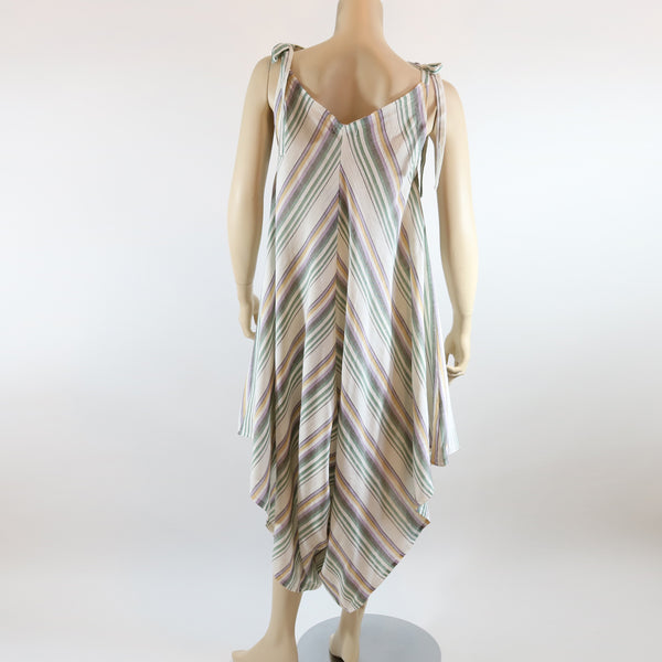 Woven Jumpsuit with Tie Straps