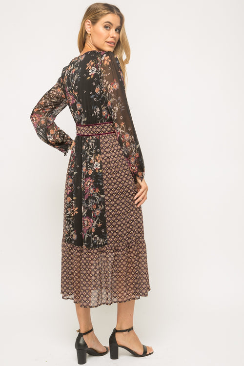 Mixed Printed Long Sleeve Dress
