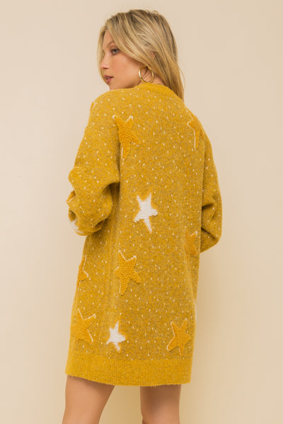Star jacquard fuzzy and soft open cardian
