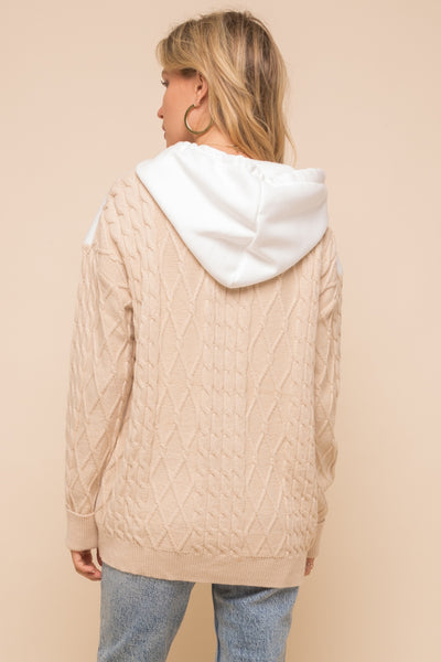 Fleece hoddie cable knit sleeve sweater