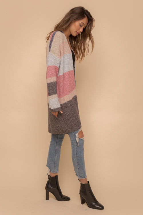 Color Block Open Sweater Cardigan