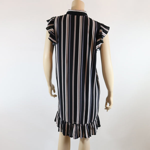 Striped Button Up Shift Dress with Ruffle Detail at Hem and Shoulders