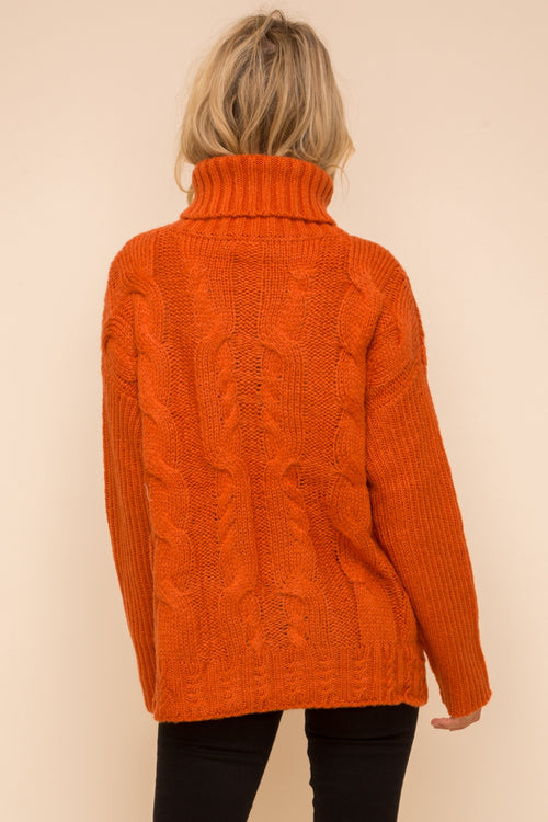 CHUNKY CABLE TURTLE NECK ORANGE SWEATER