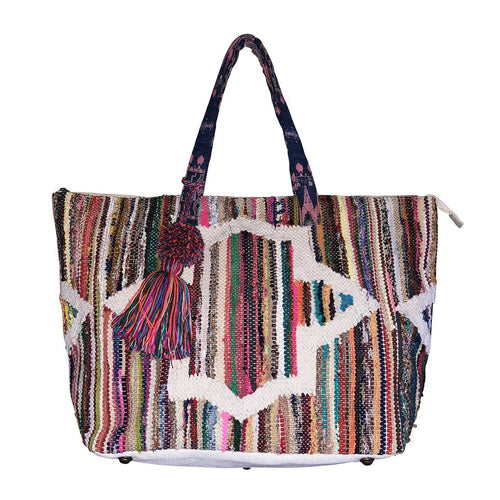 RAINBOW STRIPES TAPESTRY TOTE