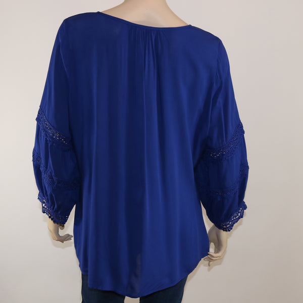 3/4 Sleeve Blouse With Crochet Lace Detail and Tie at Neck
