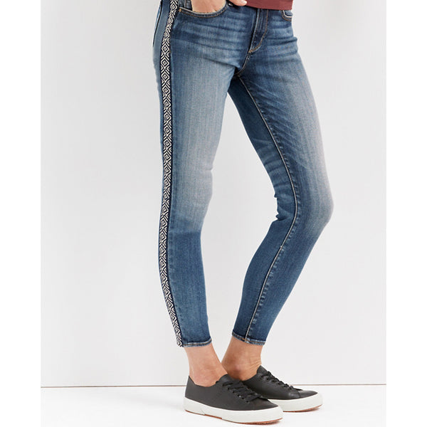 Jackie Embroidered Mid Rise Skinny Jeans
