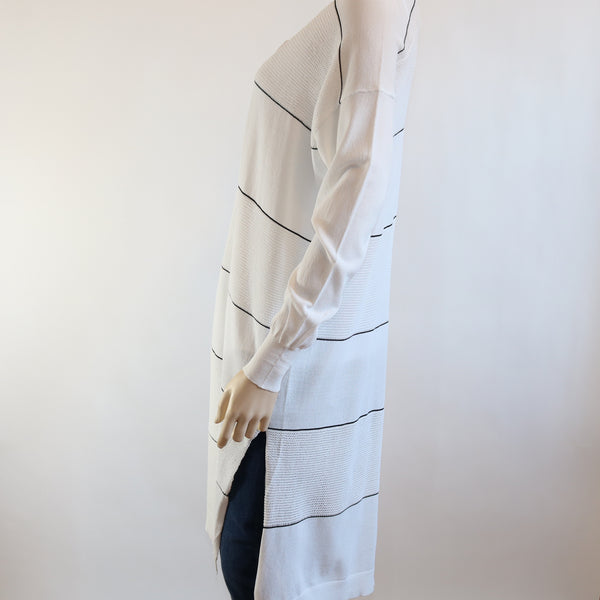 Stripe Detail Open Long Cardigan