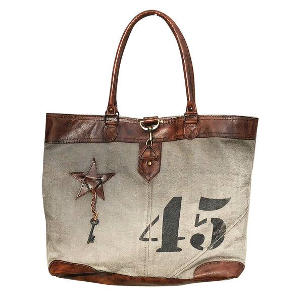 "LEATHER CANVAS ""45"" TOTE"