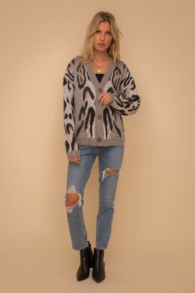 Leopard Jacquard Button down Sweater Cardigan