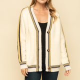 OVERSIZE CARDIGAN WITH COLORFUL STRIPE ACCENT