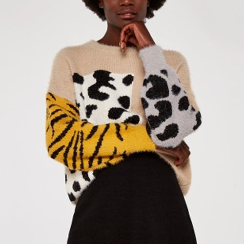 Animal Block Fuzzy Boxy Sweater