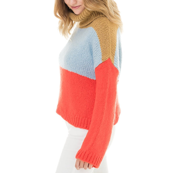 COLOR BLOCKED TURTLE NECK SWEATER